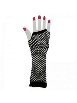 Long Ladies Fishnet Gloves - Black