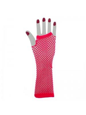 Long Ladies Fishnet Gloves - Neon Pink