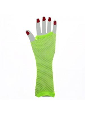 Long Ladies Fishnet Gloves - Neon Yellow