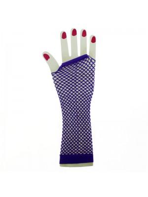 Long Ladies Fishnet Gloves - Purple