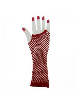 Long Ladies Fishnet Gloves - Red