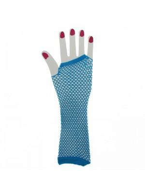Long Ladies Fishnet Gloves - Turquoise