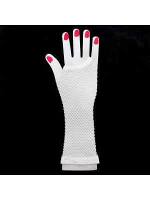 Long Ladies Fishnet Gloves - White