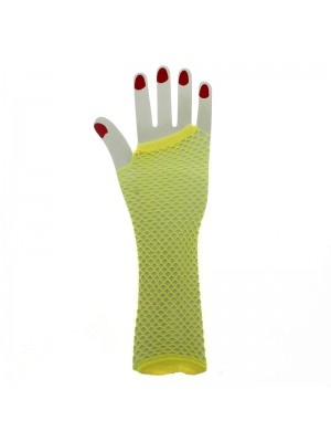 Long Ladies Fishnet Gloves - Yellow
