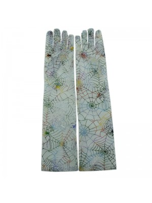 Long Ladies Fishnet Gloves With A Rainbow Spider Web