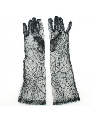 Long Ladies Fishnet Gloves With A Spider Web Design
