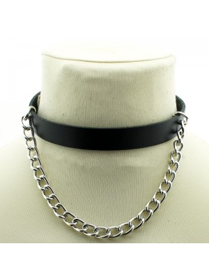 Long Leather Choker With Chain (23cm Chain)