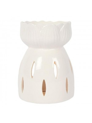Lotous Flower Ceramic Oil Burner - White