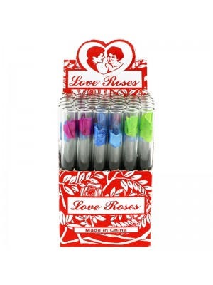Wholesale Love Rose Flower In Glass Pipes - Assorted