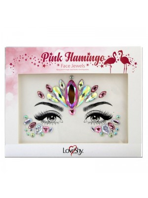 Wholesale Love Shy Festival Face Jewels - Pink Flamingo