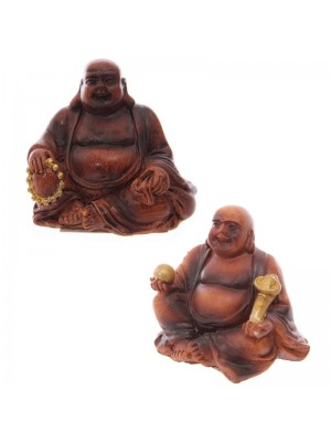 Lucky Mini-Buddha (Wooden Effect) - 4.5cm