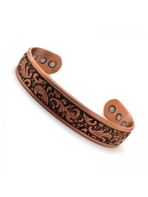 Wholesale Magnetic Bangle Leaf Design With 6 Magnets - Copper (M)