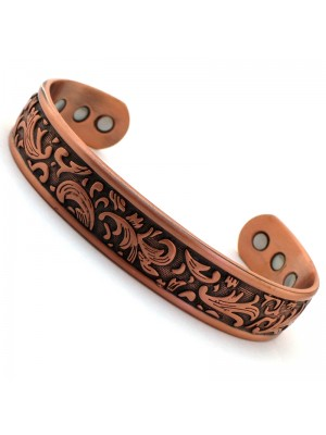 Wholesale Magnetic Bangle Leaf Design With 6 Magnets - Copper (XL)