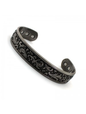 Wholesale Magnetic Bangle Leaf Design With 6 Magnets - Silver (M)