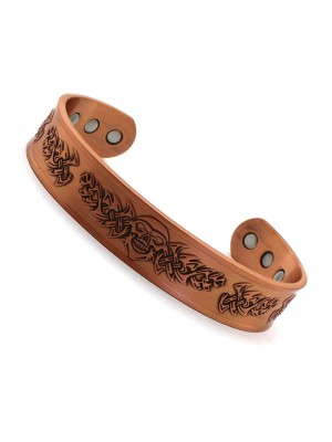 Wholesale Magnetic Bangle Tribal Skull Design With 6 Magnets - Copper (M)