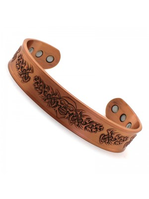 Wholesale Magnetic Bangle Tribal Skull Design With 6 Magnets - Copper (XL)