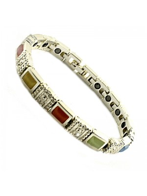 Magnetic Bracelet With 18 Magnets - Silver with Multi Colour Stones
