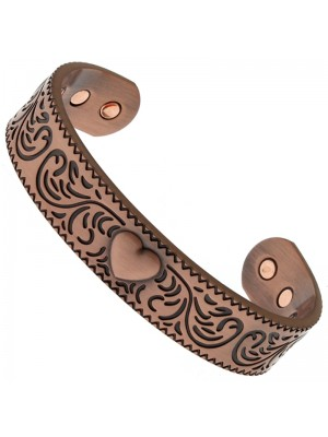 Magnetic Copper Bangle - Heart With Swirls (M)