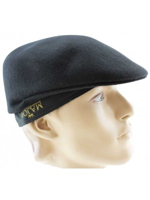 Men's Plain Black Wool Felt Flat Caps - Large(58cm)