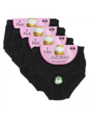 Ladies 100% Cotton Rich Mama Briefs - Pack of 3 (Large)