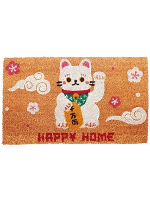 Maneki Neko Lucky Cat Coir Door Mat