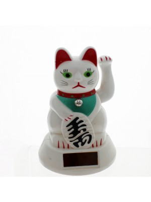 Maneki Neko Solar Powered Money Cat with Waving Paw 16cm