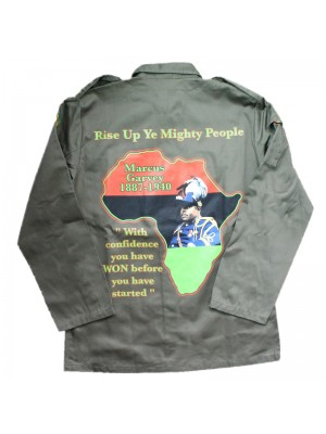 Marcus Garvey Buttoned Shirt Jacket - Khaki Green (Assorted Sizes)