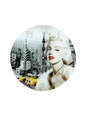 Marilyn Monroe Glass Wall Clock - 30cm