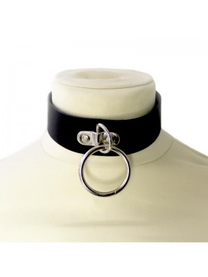 Medium Leather Choker With Large Ring