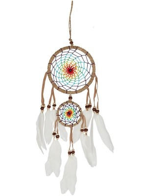 Wholesale Medium Multicoloured Dreamcatcher With White Feathers