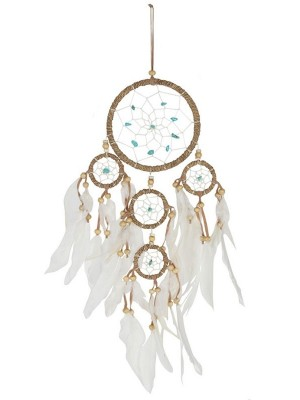 Wholesale Medium Natural Dreamcatcher With turquoise Beads