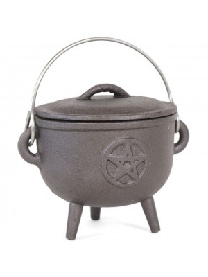 Medium Cast Iron Cauldron with Pentagram (12cm)