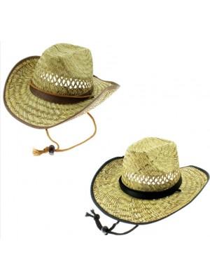 Wholesale Men's Cowboy Straw Hat - Assorted Colours & Sizes