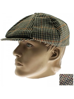 Men's 8 Pannel Tweed Flat Cap - Assortment