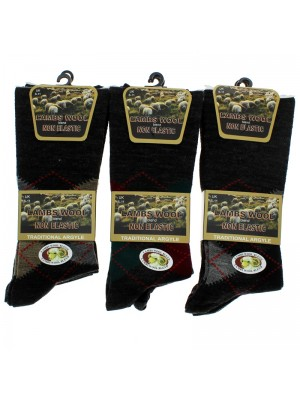 Men's Argyle Designs Non-Elastic Wool Blend Socks - Assorted Colours