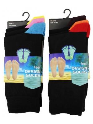 Men's Black Socks With Coloured Heels & Toes