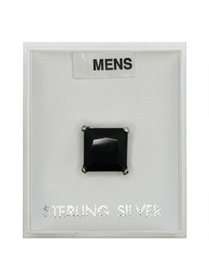 Men's Black Sterling Silver  Square CZ Stud 5 mm