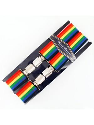 Wholesale Men's Braces Rainbow Print 35mm Wide
