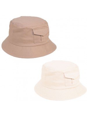 Adults Bucket Hat with Pockets - Assorted Colours & Sizes