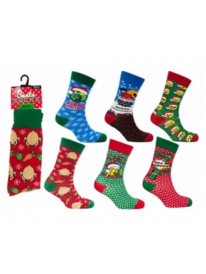 Wholesale Men's Christmas Socks Assorted Santa Designs(UK 6-11)