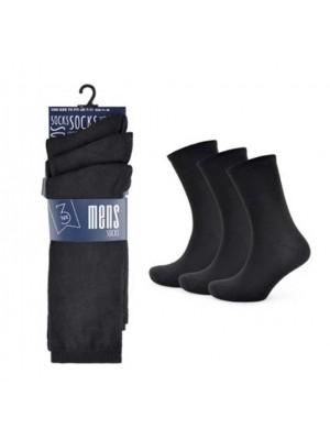Wholesale Men's Plain Socks - Black Size 7-11