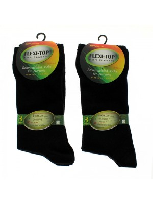 Men's Flexi-Top Non Elastic Socks- Black
