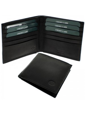 Men's Florentino Leather Wallet With 12 Card Slots - Black