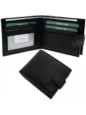 Wholesale Men's Florentino Leather Wallet With 4 Card Slots - Black