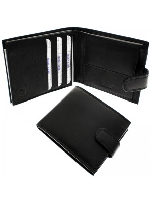 Men's Forum Leather Wallet With 12 Card Slots - Black