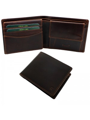Men's Forum Leather Wallet With 6 Card Slots - Brown