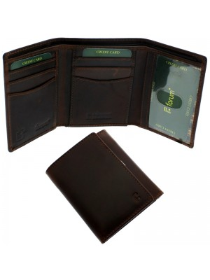 Men's Forum Leather Wallet With 7 Card Slots - Brown