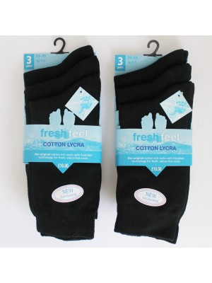 wholesale Men's Fresh Feel Seam free toes Cotton Lycra Socks - Black