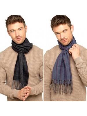 Wholesale Mens Herringbone Striped Wool Scarf - Assorted Colours