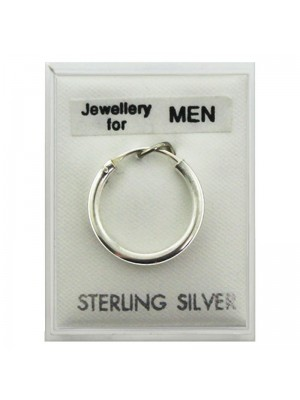 Wholesale Men's Sterling Silver Single Plain Round Sleeper - 16mm